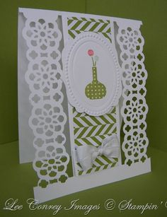 Lace punch card, very clever use of this border punch.  Also striking in bright colors.