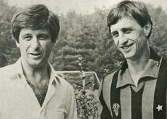 1981. With Gianni Rivera, during his short appearance with Ac Milan for Mundialito.