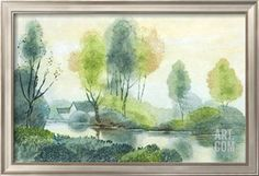 Country House and River Art Print at Art.com