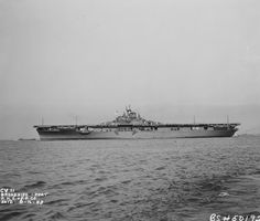 USS Intrepid (CV-11) off Newport News, Virginia, on 16 August 1943, the day she went into commission.