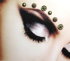 6 STEAMPUNK Metal BINDIS Post Apocalyptic Eye Decals self-stick Gears & Studs