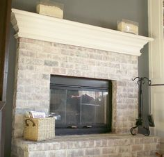to Whitewash a Dated Brick Fireplace How to white wash . to Whitewash a Dated Brick Fireplace How to white wash . Find this home on Fireplace Makeover: Tiling The Mantel With Marble Herringbone White Wash Brick Fireplace, Painted Brick Fireplaces, Fireplace Redo, Fireplace Makeovers, White Mantle, Fireplace Whitewash, Fireplace Ideas, Brick Fireplace Remodel, Fireplace Hearth