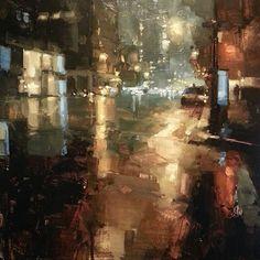 Past Midnight James Croner city night nocturne painting Urban Landscape, Landscape Art, Landscape Paintings, Urban Painting, City Painting, Paintings I Love, Beautiful Paintings, Portrait Paintings, Acrylic Paintings