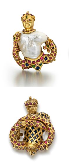 India | Pendant; gold featuring a baroque pearl, rubies, diamonds, emeralds and blue glass | Mughal dominions, late 16th century