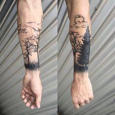 Tattoo Trends - Idée de tatouage homme dos tatouage ligne de vie dessin tatoo foret - Nature Tattoo Sleeve, Sleeve Tattoos, Forest Tattoo Sleeve, Trendy Tattoos, Cool Tattoos, Mens Tattoos, Tatoos, Cool Little Tattoos, Tree Tattoo Designs