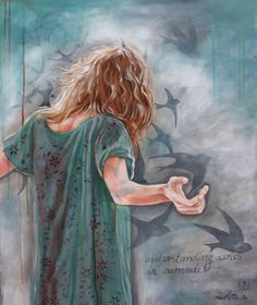 Woman praising the Lord and Holy Spirit Doves. nicolette geldenhuys art -