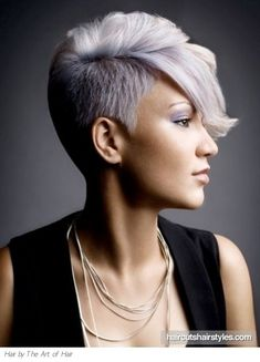 What Estelle's silver hair might look like cut short. My Hairstyle, Cute Hairstyles For Short Hair, Short Hair Cuts, Short Hair Styles, Shaved Hairstyles, Pixie Cuts, Short Pixie, Pixie Hairstyles, Gray Hairstyles