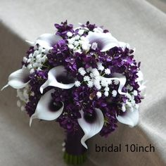 Calla Lilies Wedding Package-Picasso Purple Calla Lilies Silk   Etsy Purple Flower Bouquet, Purple Calla Lilies, Cascading Bridal Bouquets, Silk Bridal Bouquet, Purple Wedding Bouquets, Purple Flowers, Wedding Flowers, Bridesmaid Bouquet White, Calla Lily Wedding