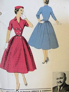 1950s PRETTY DOUBLE BREASTED BODICE FULL SKIRTED DRESS PATTERN ADVANCE AMERICAN DESIGNER PATTERNS 6782