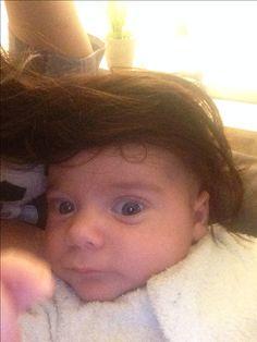 My littlest love grew some hair overnight 😂 #funnybaby