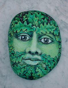 Green Man Rock Painted Rock ART by Artist Konnie by MakingKonnie