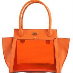 The Large Park Avenue. Orange PVC and pebbled leather body. #DeeOcleppo #DeeOcleppoBags #DOH #PebbledLeather #PVC #Handbag #TheParkAvenue #VersatileLuxury