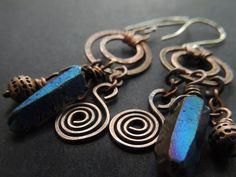 Mystic Blue Crystal Quartz Earrings