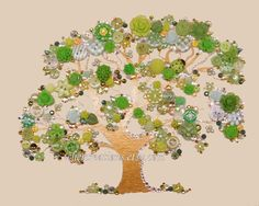 TREE of LIFE 231 8x10 Button Art Button Artwork by CherCreations