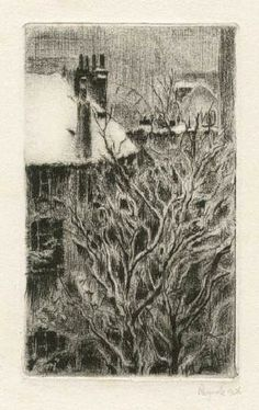 Bohuslav Reynek Motiv z Grenoblu / Motiff from Grenoble suchá jehla / dry point… Art Gallery, Tapestry, War, Prints, Painting, Decor, Dekoration, Art Museum, Tapestries