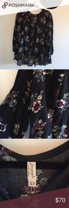 Free People Floral Tunic Black & floral print long sleeved tunic Free People Tops Tunics