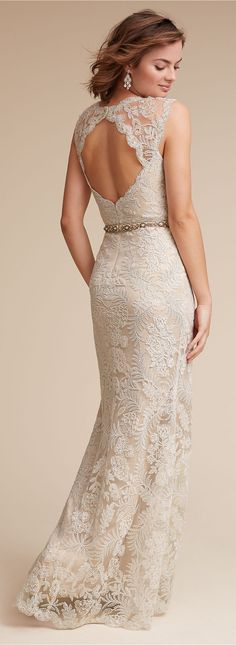 Lace back wedding dress by BHLDN