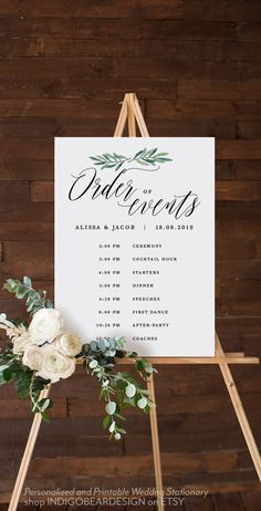 This is a perfect way to display the order of events at any wedding! day timeline template Greenery Order of Events Sign, Order of Service, Wedding Day Timeline Sign, Timetable Schedule, Wedding Decor Printable Wedding Template Wedding Day Itinerary, Wedding Day Schedule, Wedding Day Timeline, Wedding Planner, Wedding Program Board, Wedding Itinerary Template, Wedding Favors, Diy Wedding, Wedding Flowers