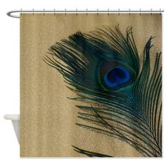 Metallic Gold Peacock Shower Curtain on CafePress.com
