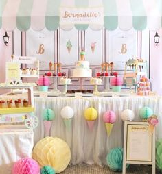 Beautiful pastel-colored Ice cream parlor themed party. Love the little ice cream truck, hanging ice cream decor and the sweet menu! (credit - @thelittle_wonderland on instagram)