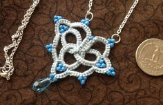 Blue Love  Needle Tatting  Pendant