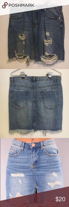 Fashion Nova Denim Skirt Fits L/XL. Never worn. Fashion Nova Skirts