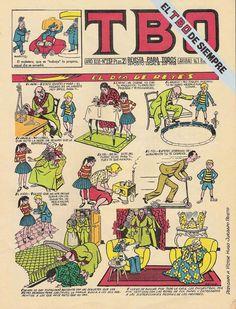 tebeo:  (De TBO, nombre de una revista española fundada en 1917).  1. m. Revista infantil de chistes e historietas cuyo asunto se desarrolla en series de dibujos.  2. m. Sección de un periódico en la cual se publican historietas gráficas de esta clase.  estar alguien o algo más visto que el ~.  1. loc. verb. coloq. Estar demasiado visto. #cómics #tebeos