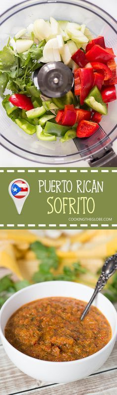 Puerto Rican Sofrito Recipe – Cooking The Globe - Macaroni Salad Puerto Rican Sofrito, Puerto Rican Dishes, Puerto Rican Cuisine, Puerto Rican Recipes, Mexican Food Recipes, Dinner Recipes, Ethnic Recipes, Latin Food Recipes, Antipasto