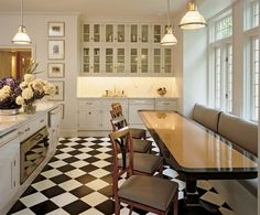 Love the black and white chess floor!