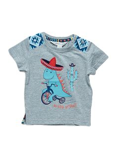 Pumpkin Patch -  - mexi-dino top - S4BB11015 - mable grey marle - 0-3m to 18-24m