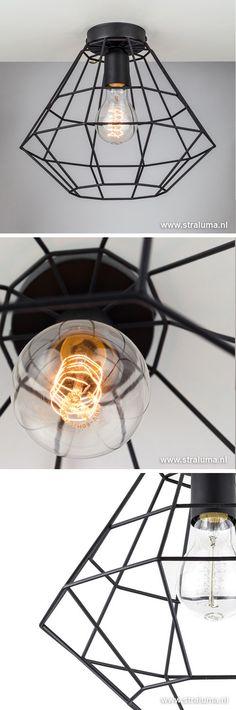 Zwarte draad hanglamp bol met kegel - www.straluma.nl | verlichting ...