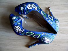 Wedding Shoes something blue paisley moss green crystals. $298.00, via Etsy.