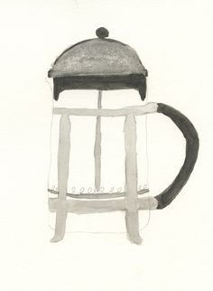 watercolor french press