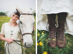 White Horse Bridal Portraits with a Handmade Wedding Dress | Blest Photography