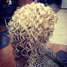 Prom curls, blonde hair.