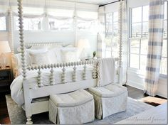 southern-living-idea-house-master-bedroom-love this spindle bed, but in black Southern Style Bedrooms, Southern Living Homes, Farmhouse Bedroom Furniture, Home Decor Bedroom, Farm Bedroom, Southern Furniture, Bedroom Ideas, Farmhouse Bedrooms, Bedroom Retreat