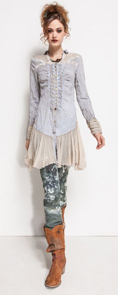 Chemise Elisa Cavaletti bleu jean avec voile beige