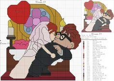 Uup Up Pixar, Disney Pixar Up, Disney Cartoons, Wedding Cross Stitch, Beaded Cross Stitch, Cross Stitch Patterns, Stitch Movie, Muppet Babies, Disney Stitch