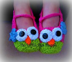 Hey, I found this really awesome Etsy listing at http://www.etsy.com/listing/82209545/crochet-owl-slippers-all-sizes-baby-gift
