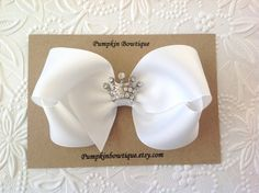 White bow headband: hair bow with crown. White by PumpkinBowtique