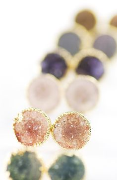 keahi earrings  gold druzy stud earrings by kealohajewelry. #accessories.