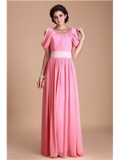 Beautiful Ruched A-Line Scoop Neckline Short-Sleeves Floor-Length Juliana's Bridesmaid Dress