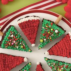 Decorate these Gingerbread brownies to make Christmas trees or Santa hats, or heck, some of each! These Christmas desserts will vanish fast thanks to their fudgy texture and eye-catching appeal. #brownies #christmasdessert #decoratedbrownies #holidaydessert #bhg