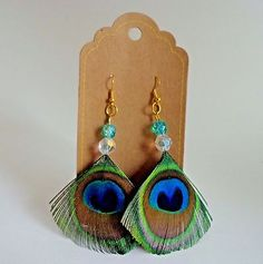 "SALE! Peacock Feather Earrings with Beads Wire Handmade 4"" Drop/Dangle"
