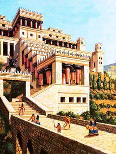 Η μνημειακή είσοδος του ανακτόρου της Κνωσσού και η λίθινη γέφυρα που την συνέδεε με το μικρό ανάκτορο - Φανταστική απεικόνιση The great Entrance of the minoan Palace of Knoosos and the stone bridge !!! Image by © Look and Learn