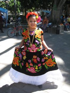 Oaxaca, Mexico! Folklorico dancer in Tehuana costume. All children are beautiful but we especially enjoy the Mexican children wearing traditional clothing.