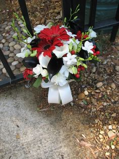 Red black and white bridal bouquet