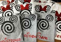 Personalized Minnie or mickey MOUSE swirl shirt, year, Disney custom name, Disney family shirts, group shirts, disney, glitter, cruise by HeritageKidDesigns on Etsy https://www.etsy.com/listing/269360846/personalized-minnie-or-mickey-mouse