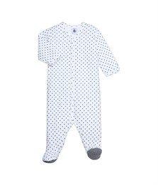 Uniseks babypyjama in geruwd katoen met sterrenprint wit Lait / blauw Limoges - Petit Bateau
