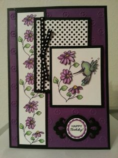 try using In Full Bloom. Look for hummingbird stamp.  Note the polka dot & ribbon combo